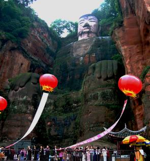 The Leshan Giant Buddha, 71 meters tall, construction began in 713 AD, completed ninety years later.
