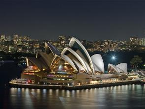 Sydney Opera House, as viewed from the Sydney Harbour Bridge. Author David Liff, Creative Coomons License.