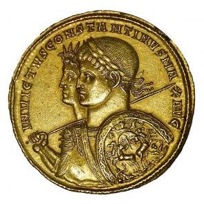 A gold multiple of Constantine with Sol Invictus, struck in 313.
